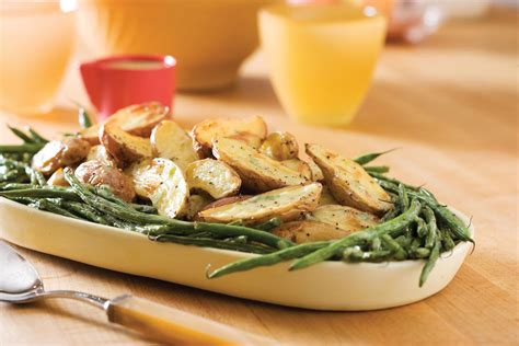 easter side dishes roasted fingerlings and green beans with creamy tarragon