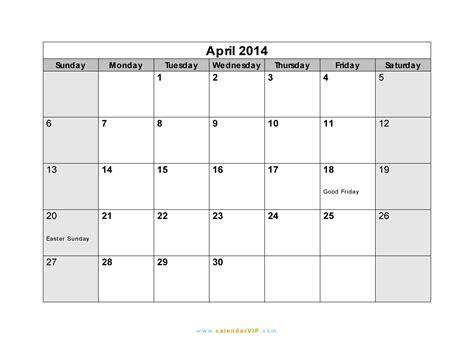 Calendar April 2014 April 2014 Calendar Blank Printable Calendar Template In