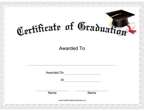 5th grade graduation certificate template this graduation certificate features a mortarboard with a