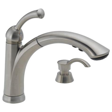delta 21966lf ss dennison bridge kitchen faucet w spray delta kitchen faucets delta lorain stainless 2handle deck