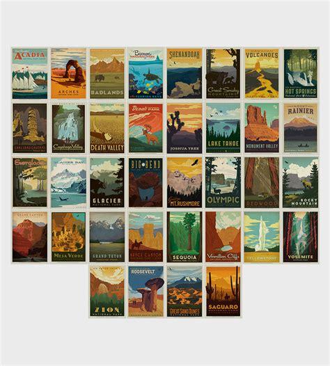 Postcard Set american national parks vintage style postcard set