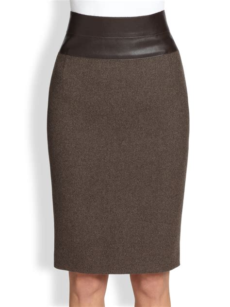 akris punto wool faux leather pencil skirt in brown lyst