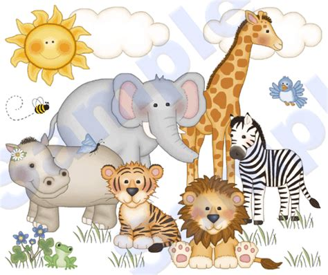 jungle zoo animals wall mural decals baby nursery room zebra stickers decor wall mural