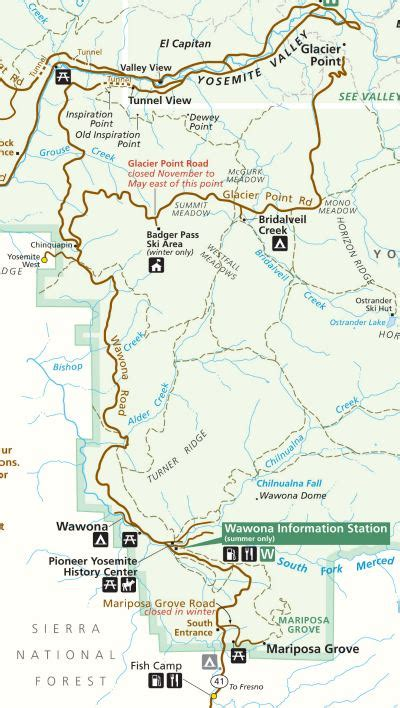 printable map yosemite national park the wawona road c and hike along the old yosemite