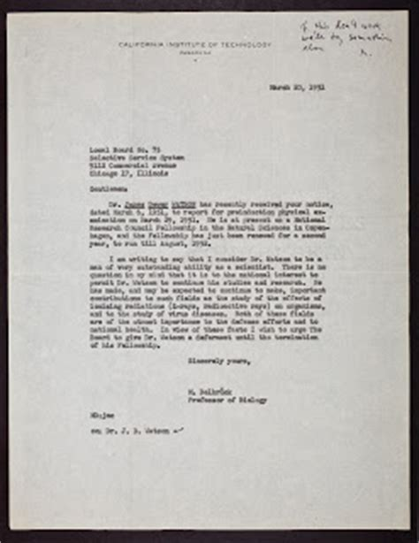 Selective Service Letter Of Explanation Sle The Cshl Archives Dna Letters 1951 1953