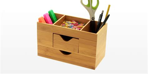 Office Desk Tidy Office Desk Tidy Desk Tidy Stationery Box Desk Organiser Bamboo Office Supplies Desk Tidy