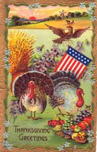 maximum embellishment vintage thanksgiving card greetings with flag