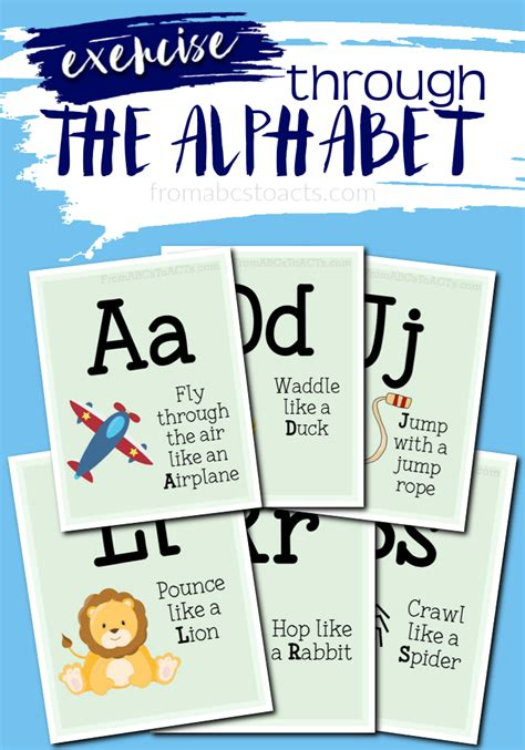 printable exercise program cards printable alphabet gross motor cards from abcs to acts