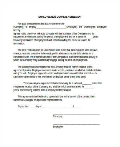 employee non compete agreement template sle non compete agreement forms 8 free documents in