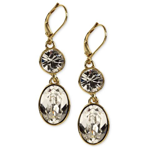 givenchy goldtone swarovski element drop earrings