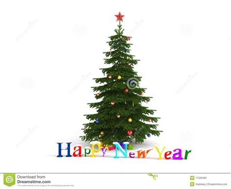 happy new year christmas tree stock illustration