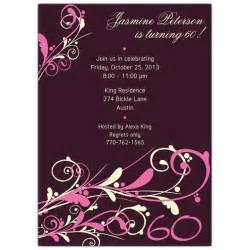 camia plum 60th birthday invitations paperstyle