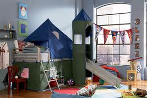 Bunk Beds With Tents And Slides Shop Home Garden Powell Furniture Powell Blue And Green Tent Bunk Bed With Slide