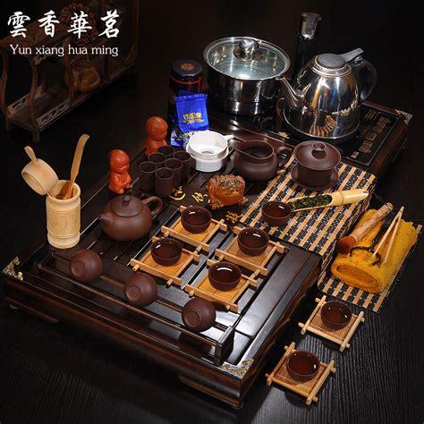 Sale Solid Wood Tea Tray Kungfu Tea tea set ruyao ceramic violet arenaceous kung fu tea cups induction cooker solid wood