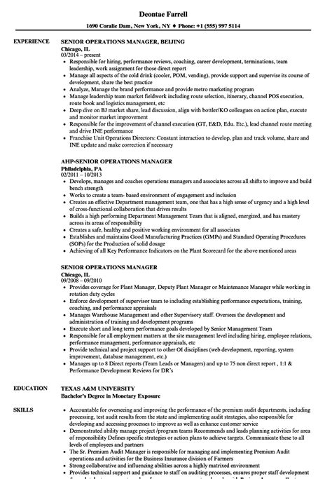 senior operations manager resume sle operations manager resume sle tire driveeasy co