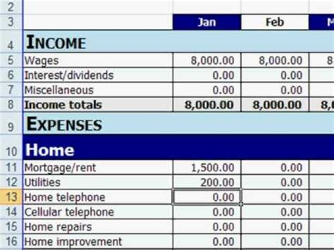 how to make a home budget plan free excel personal budget template youtube