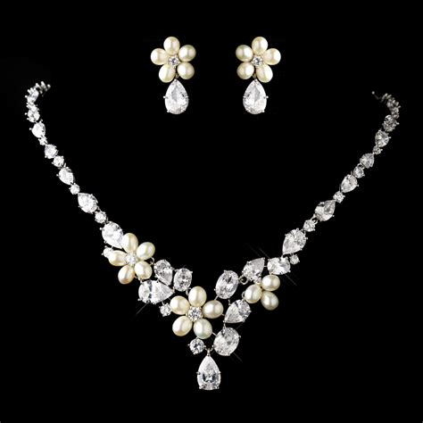 Wedding Jewelry Sets by Antique Silver Cz Pearl Wedding Jewelry Set