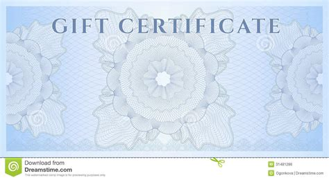 Blue Gift Certificate (Voucher) Template. Pattern Royalty