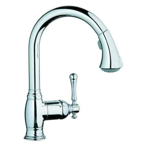 grohe bridgeford single handle pull out sprayer kitchen faucet in starlight chrome 33 870 000