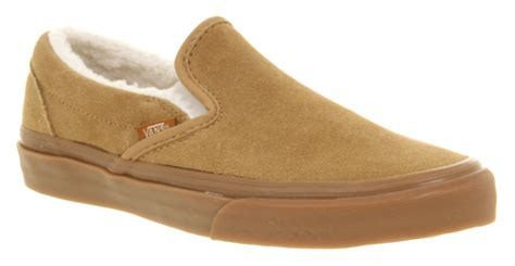 Fleece Slip Ons vans classic slip on sand brown suede fleece lined casual