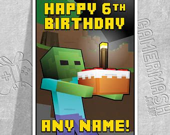 printable minecraft greeting cards minecraft cake etsy