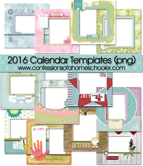 scrapbook calendar template 2016 monthly digital scrapbooking templates confessions