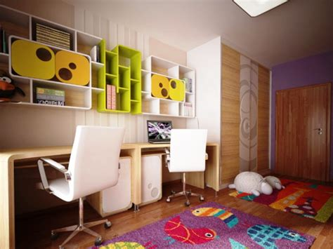 Bedroom Design For Kid Room Modern Plywood Study Table With Colourful Book Selvhing And Laminate Floors Also