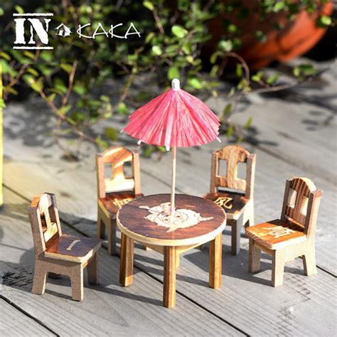 1set Desk And Chair Resin Miniature Garden Decoration Terrarium aliexpress buy 1desk 4 chairs home mini world