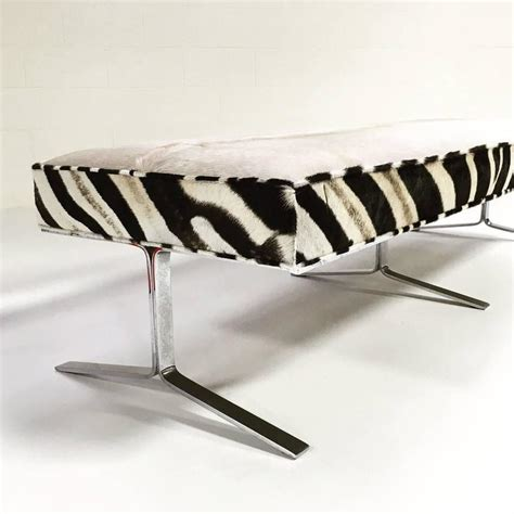 cowhide bench modern modern chrome bench with ivory cowhide and zebra hide for