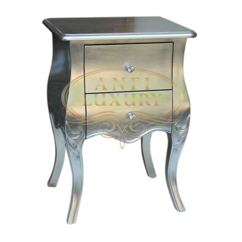 high gloss luxury luxus bedside table with silver leaf silver gloss bedside indonesian furniture indonesian
