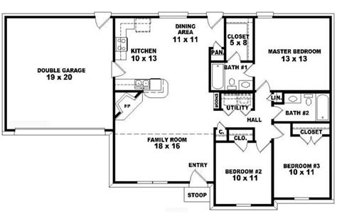 3 Bed 2 Bath Floor Plans by One Story Ranch Style House Plans One Story 3 Bedroom 2
