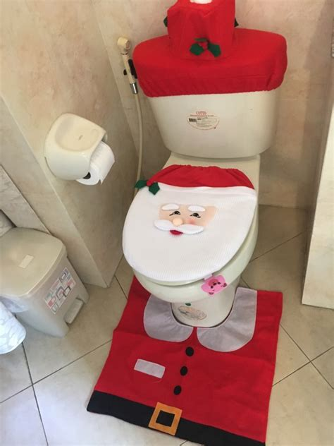 santa toilet seat cover and rug set fengrise santa claus rug toilet seat cover bathroom set merry decorations for home new