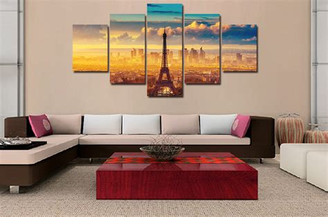 Large Paintings For Living Room by 5pcs 2016 New Abstract Hd The Eiffel Tower Canvas