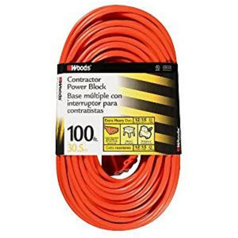 100 ft 14 outdoor extension cord woods 100 ft 14 3 sjtw multi outlet 3 outdoor heavy