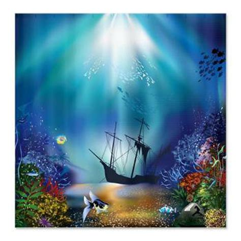 Underwater Wall Mural underwater scene shipwreck shower from cafepress awesome