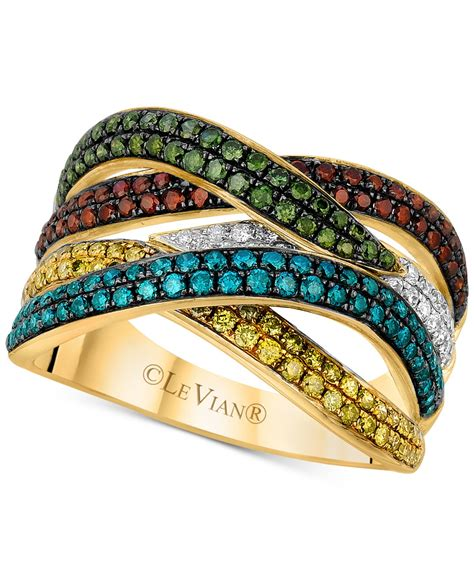 Nercy Ring Multicolour 1 lyst le vian exotics 174 multicolor ring 1 1 10 ct t w in 14k gold