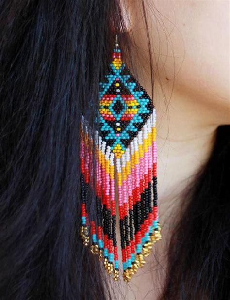 beadwork earrings beaded earrings by helendmitrenkoshop on