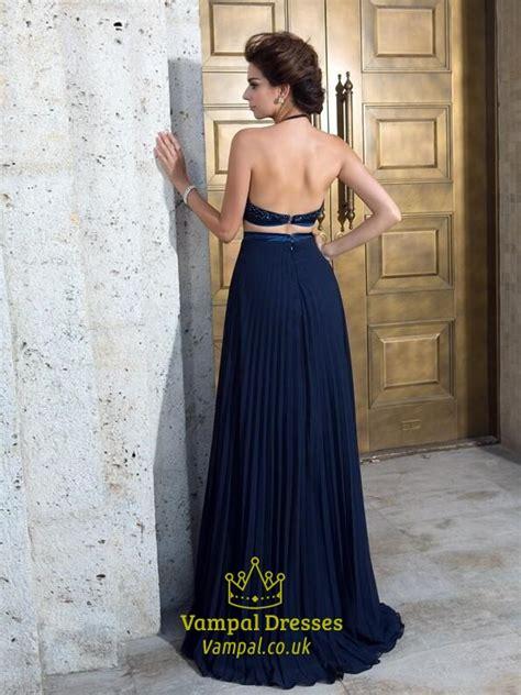 Sleeveless Halter Pleated Dress halter sleeveless pleated beaded top chiffon two