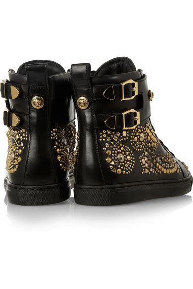 versace studded high top sneakers versace studded leather high top sneakers net a porter
