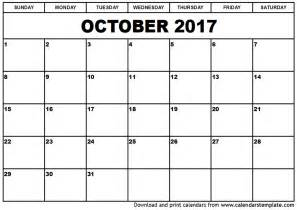Calendar 2017 October Word October 2017 Calendar Printable Template With Holidays