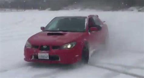 baby driver subaru baby driver returns to subaru wrx to pull off snowy drifts