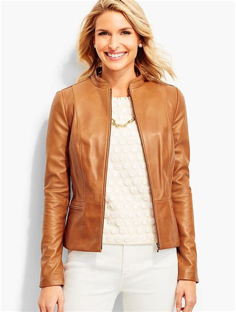 7 Luxe Leather Shirts lyst talbots luxe leather jacket