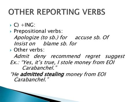 verb pattern insist reported speech and reporting verbs