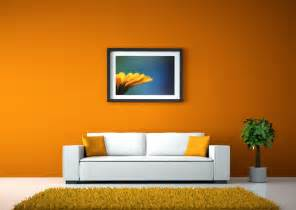 orange walls and white sofa for living room 3d