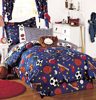 Size Sports Bedding by All Sports Baseball Basketball Football 6pc Bedding