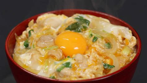 cooking with oyakodon recipe chicken and egg bowl with soft and silky texture topped with