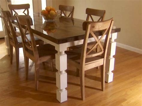 a dining room table how to build a dining table from an door and posts hgtv