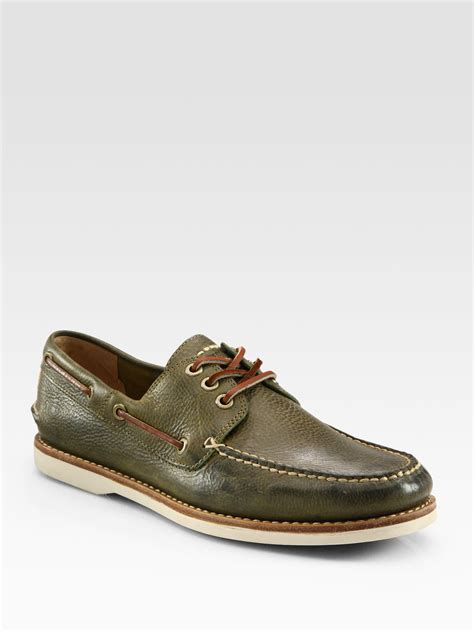 frye boat shoes review frye sully boat shoe in green for men olive lyst
