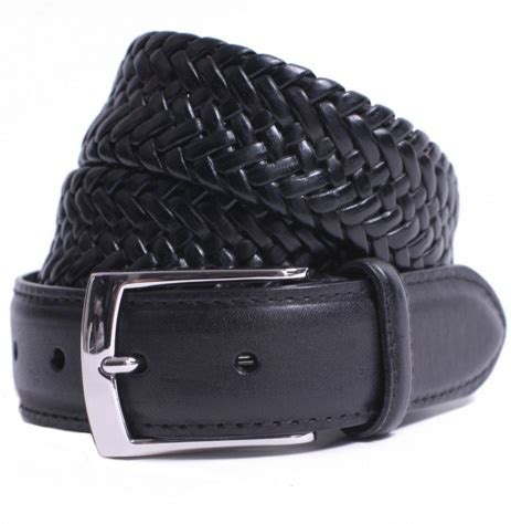 tom and harry black plaited leather belt by dents