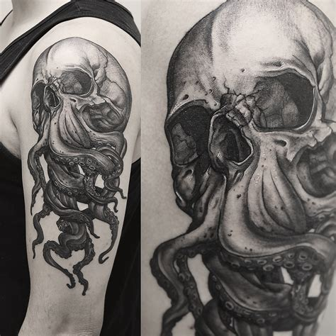 tentacle tattoo some skulls with tentacles i did for my clients c